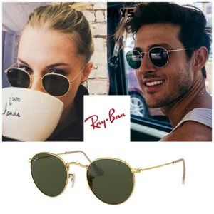 ✨💕 NEW✨💕 Ray Ban Round Metal Frame Gold RB3447